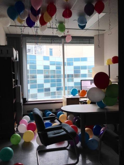 Surprise balloons for Louis!