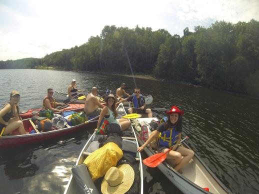 Canoe camping with the lab and friends