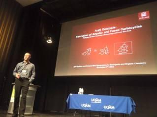 Phil presenting his synthesis of Magellenine at QOMSBOC 2015